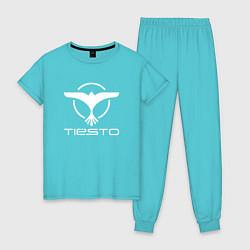 Пижама хлопковая женская Tiesto цвета бирюзовый — фото 1