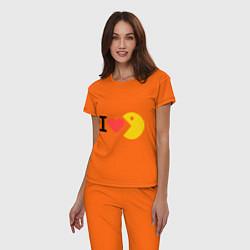 Пижама хлопковая женская I love Packman цвета оранжевый — фото 2
