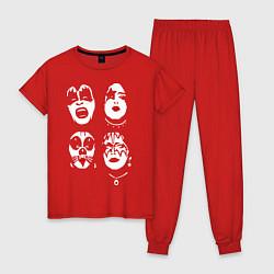 Пижама хлопковая женская Kiss Faces цвета красный — фото 1