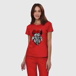 Пижама хлопковая женская Slipknot Goat цвета красный — фото 2