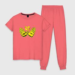Пижама хлопковая женская Wu-Tang Hands цвета коралловый — фото 1
