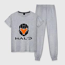 Пижама хлопковая женская Halo: Robot Mask цвета меланж — фото 1
