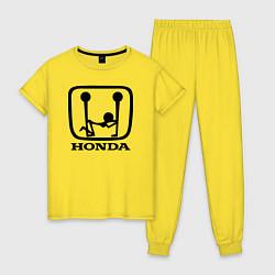 Пижама хлопковая женская Honda Logo Sexy цвета желтый — фото 1