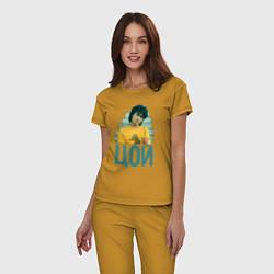 Пижама хлопковая женская Цой цвета горчичный — фото 2