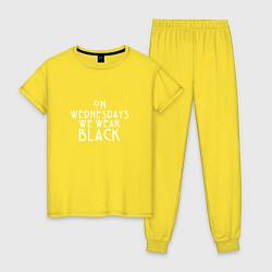 Пижама хлопковая женская We wear black цвета желтый — фото 1