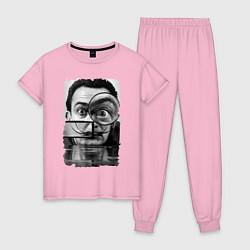 Пижама хлопковая женская Абстракция Дали цвета светло-розовый — фото 1