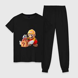 Пижама хлопковая женская Super Mario: Builder цвета черный — фото 1