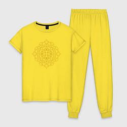 Пижама хлопковая женская Золотой цветок цвета желтый — фото 1