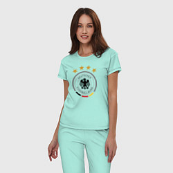 Пижама хлопковая женская Deutscher Fussball-Bund цвета мятный — фото 2