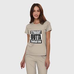 Пижама хлопковая женская Straight Outta Saratov цвета миндальный — фото 2