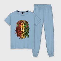 Пижама хлопковая женская Rasta Lion цвета мягкое небо — фото 1