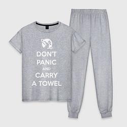 Пижама хлопковая женская Dont panic & Carry a Towel цвета меланж — фото 1