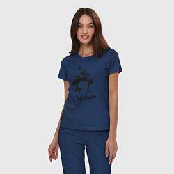 Пижама хлопковая женская Wrestling цвета тёмно-синий — фото 2