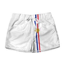 Шорты женские Франция: лента с гербом цвета 3D — фото 1