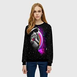 Свитшот женский Космический кот цвета 3D-черный — фото 2