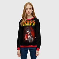Свитшот женский KISS: Paul Stanley цвета 3D-красный — фото 2