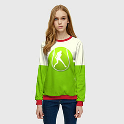 Свитшот женский Символ теннисиста цвета 3D-красный — фото 2