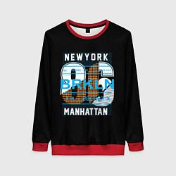 Свитшот женский New York: Manhattan 86 цвета 3D-красный — фото 1