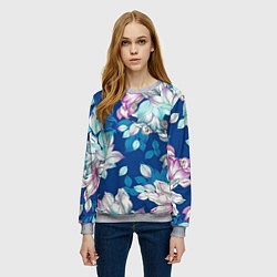 Свитшот женский Нежные цветы цвета 3D-меланж — фото 2