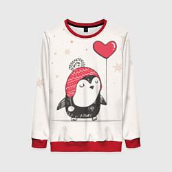Свитшот женский Влюбленный пингвин цвета 3D-красный — фото 1