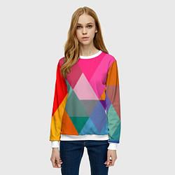 Свитшот женский Разноцветные полигоны цвета 3D-белый — фото 2