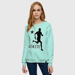 Свитшот хлопковый женский Лёгкая атлетика цвета мятный — фото 2