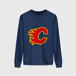 Свитшот хлопковый женский Calgary Flames цвета тёмно-синий — фото 1