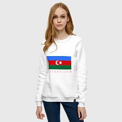 Свитшот хлопковый женский Азербайджан цвета белый — фото 2