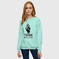 Свитшот хлопковый женский Зомби Апокалипсис цвета мятный — фото 2