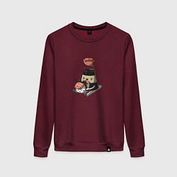 Свитшот хлопковый женский Милый Соевый соус цвета меланж-бордовый — фото 1