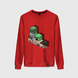 Свитшот хлопковый женский Minecraft Cube's цвета красный — фото 1