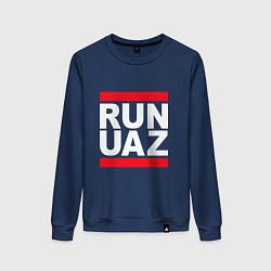 Свитшот хлопковый женский Run UAZ цвета тёмно-синий — фото 1
