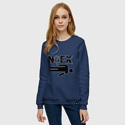Свитшот хлопковый женский NOFX crushman цвета тёмно-синий — фото 2