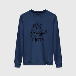 Женский хлопковый свитшот с принтом My Sarcastic Never, цвет: тёмно-синий, артикул: 10142784905317 — фото 1