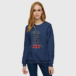 Женский хлопковый свитшот с принтом Keep Calm & Listen T.mraz, цвет: тёмно-синий, артикул: 10142792505317 — фото 2