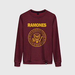 Свитшот хлопковый женский Ramones цвета меланж-бордовый — фото 1