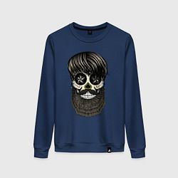 Свитшот хлопковый женский Сахарный череп с бородой цвета тёмно-синий — фото 1