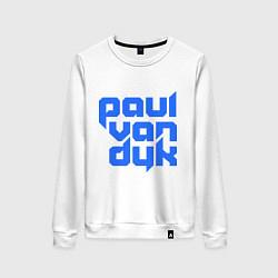 Свитшот хлопковый женский Paul van Dyk: Filled цвета белый — фото 1