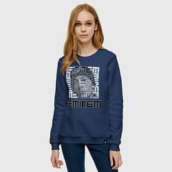 Свитшот хлопковый женский Eminem labyrinth цвета тёмно-синий — фото 2