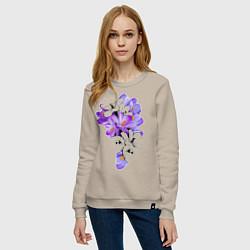 Свитшот хлопковый женский Krokus Flower цвета миндальный — фото 2