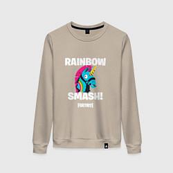 Свитшот хлопковый женский Rainbow Smash цвета миндальный — фото 1