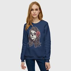 Свитшот хлопковый женский Mexican Girl цвета тёмно-синий — фото 2