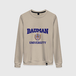 Свитшот хлопковый женский BAUMAN University цвета миндальный — фото 1