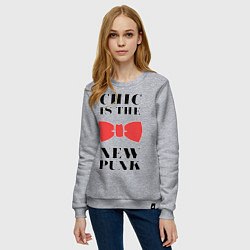Свитшот хлопковый женский Chic is the new punk цвета меланж — фото 2