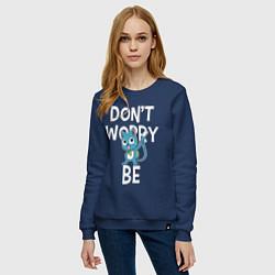 Свитшот хлопковый женский Dont Worry be Fairy Tail цвета тёмно-синий — фото 2