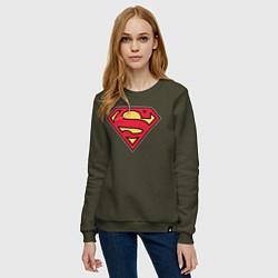 Свитшот хлопковый женский Superman logo цвета хаки — фото 2