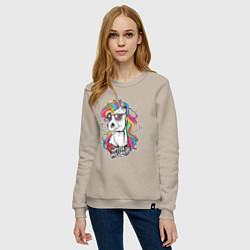 Свитшот хлопковый женский Единорог хипстер цвета миндальный — фото 2