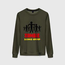 Свитшот хлопковый женский Zombie dance group цвета хаки — фото 1