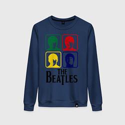 Свитшот хлопковый женский The Beatles: Colors цвета тёмно-синий — фото 1