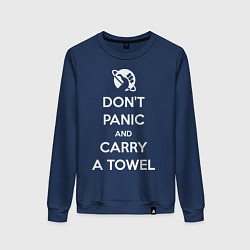 Свитшот хлопковый женский Dont panic & Carry a Towel цвета тёмно-синий — фото 1